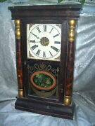 Large 23 Tall Antique Gilbert Clock From Winsted, Conn. With Pastoral Scene