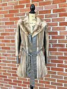 Vintage Yudofsky Furriers Louisville Mink Leather Trench Coat Belt Womens Small