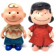 Charlie Brown And Lucy Peanuts Lot Hong Kong 7 Jointed Play Doll Toy Vintage 50s