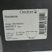 Orrefors Sweden Crystal Olle Alberius Bowl Signed Glass With Box New