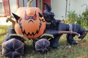 9ft Gemmy Animated Airblown Inflatable Pumpkin Carriage And Skeleton Driver Horse