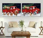 Christmas Express Delivery Red Truck Running Dogs Cats Canvas Wall Art Decor