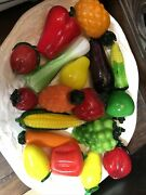 Murano Style Hand Blown Glass Fruit And Vegetables With Platter Excellent Used Con