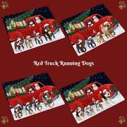 Christmas Express Delivery Red Truck Running Dogs Cats Refrigerator Magnet
