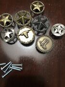 Lot Of 8 Different Texas Drawer Pulls Pai Star Longhorn Boot Various Finishes