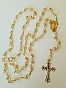 Antique Rosary Gold Plated 32 Beaded Rosary Virgin Mary From Italy