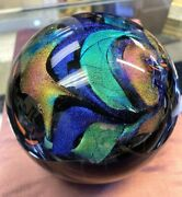 Signed Karg 2012 Black And Dichroic Glass Paperweight, Stunning 4.5