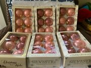 Vintage Lot Of 6 Boxes Glass Balls Christmas Ornaments Silvestri Pink