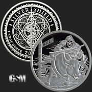 1 Oz 2018 Rate Reaper Bu - Death Of The Dollar 18 Silver Shield 999 Us With Coa