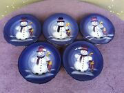 Tabletops Unlimited Snowman Blue Salad Plates Christmas Holiday Set Of 5 8.5