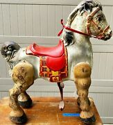 Vintage 1940s Mobo Bronco Horse Pressed Steel Metal Antique Riding Toy See Video