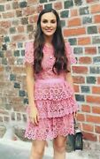 Clearance Sale - Nwt Authentic Self Portrait Pink Tiered Lace Mini Dress Sp18-10