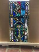 Beautiful Antique German Stained Glass Angel Window From A Closed Church - T8