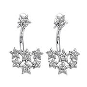 1.68ct Natural Diamond 14k White Gold Behind The Ear Floating Jacket Earrings