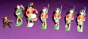 Vintage Lead Soldiers - 7 Scottish Bagpipes And Drums, Kilts And Guns - Hand Painted