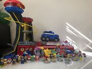 Paw Patrol Huge Mixed Lot Mighty Tower Ultimate Rescue Vehicles And Figures +