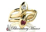 Vintage Double Snake Head Serpent Ring With Ruby And Diamond 18k Gold