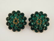 Vintage Antique Green Costume Rhinestone Earrings Round Clip On Ornate Back