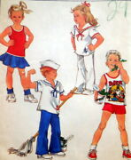 Vtg S 8712 Sew Pattern Child Popeye Sailor Outfit Top Pants Skirt Transfer 6x Uc