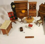 Vintage Wooden Doll House Furniture Lot Piano Chair Armoire Bedroom Table