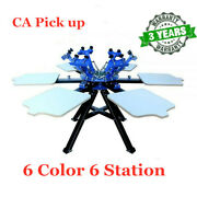 Ca 6 Color 6 Station Screen Printing Press Printer Double Rotary Print Equipment