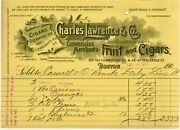 1901 Charles Lawrence Co Fruit And Cigars Glenwood Bill Head Boston Ma