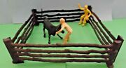 Lot Of 2 Marx Western Town Cowboys With Fencing And Longhorn Steer