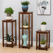 Bamboo Plant Stand Sofa Side End Table Living Room Antique Bonsais Display Decor