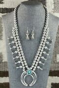 Turquoise And Sterling Silver Squash Blossom And Earrings - Leon Kirlie
