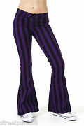 Womens 60s 70s Black And Purple Striped Bell Bottoms Flares Hippie Vintage Indie