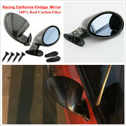Pair Carbon Fiber California Style Vintage Sport Racing Car Side Wing Mirrors