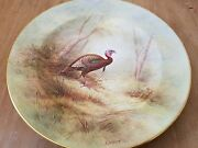 And Co Hand Painted Royal Crown Derby China Plate Wild Turkey D. Birbeck
