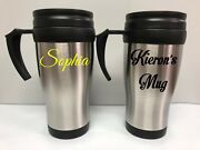 Personalised Custom Travel Insulated Mug Cup - Any Name Or Text Tea Coffee Hot