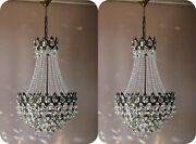 Two Matching Antique Vintage Crystal Chandeliers Ceiling Lighting Pendants