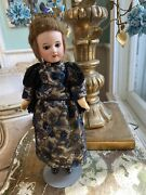 """Antique French Bisque Head Wood Composition Body 10 1/2"""" Doll Original Clothes"""