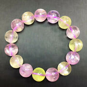 13.5mm Natural Colourful Kunzite Crystal Queen Round Beads Bracelet Aaaa