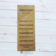 Disney Disneyland Metal Sign Featuring Historic Lands And Sleeping Beauty Castle