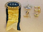 Lot Of 6 Vintage Beta Phi Sigma Sorority Pins Gold Seed Pearls Rare Queen Crown