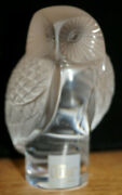 Lalique Chouette Owl Frosted Glass Paperweight Signed
