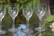 Vintage Etched Wine Glasses, Set Of 6, Etched Pressed Glass Wine Glasses, 1950's