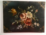 Antique Tole Hand Painted Writing Desk Pad Blotter Early 20th Cent