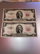 2 Dollar Bill Red Seal 1953 And 1953b