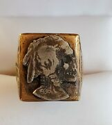Vintage Mexican Biker Ring Indian Skull Head Size 11