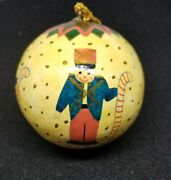 Vintage Toy Soldiers Hand Painted Paper Mache Ball Ornament Christmas