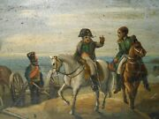 Rare Early-mid 19th C And039napoleon At Marengo Italyand039 Hand Pntd Oval Tole Srvng Tray