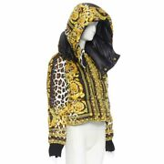 New Versace Reversible Wild Baroque Leopard Gold Goose Down Padded Jacket It40 S