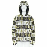New Versace Reversible Baroque Alphabet Gold Print Nylon Quilted Jacket It54 2xl