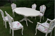 Italian Style Dining Table And Chairs 6 Chairs Inc 2 Carvers Fully Refurbished