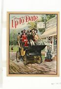 1890's Original Up To Date Color Lithograph, Victorian Horseless Carriage Ride