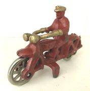 Vintage Hubley Cast Iron Toy Motorcycle Cop-1933 -scarce Two Tone-red/ Gold